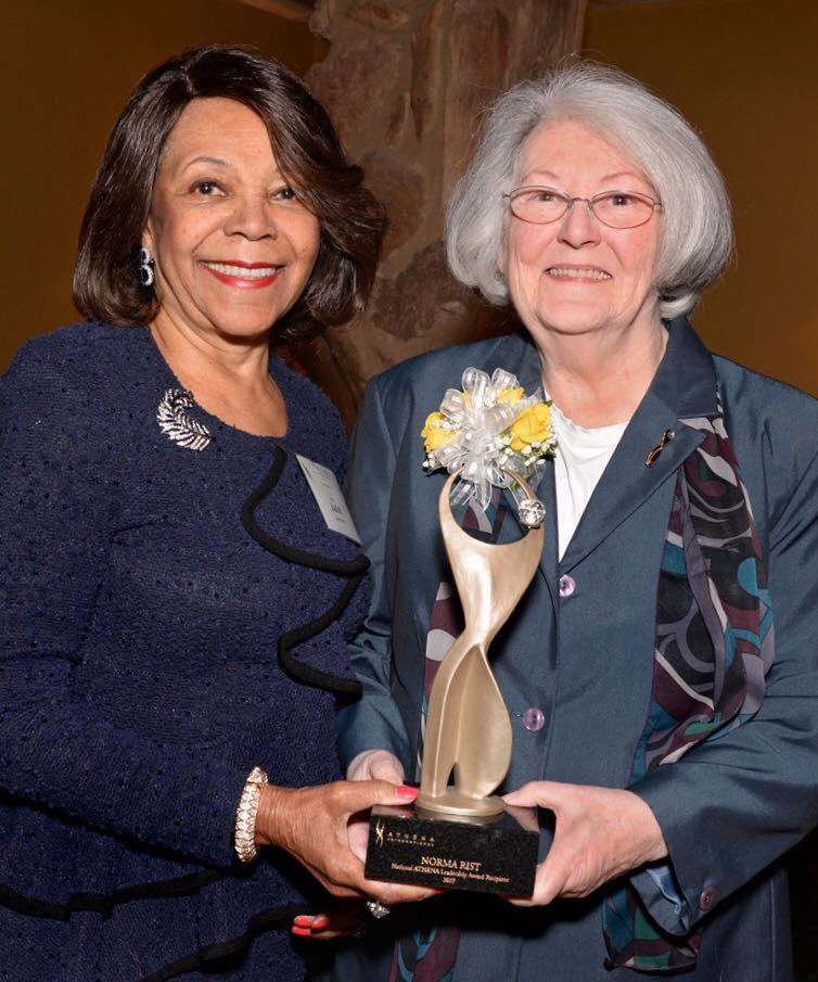Judy Lancaster presents the ATHENA National Leadership Award to Norma Rist May 2017